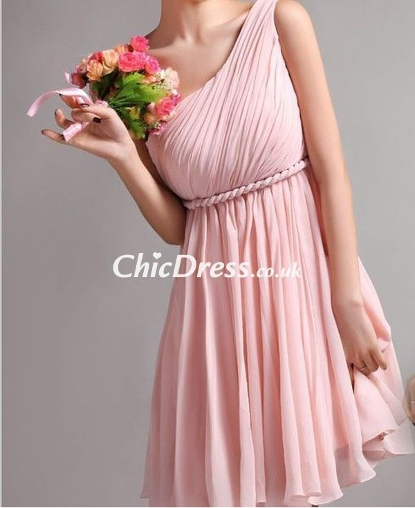 dress bridesmaid one-shoulder dress pink dress short dress