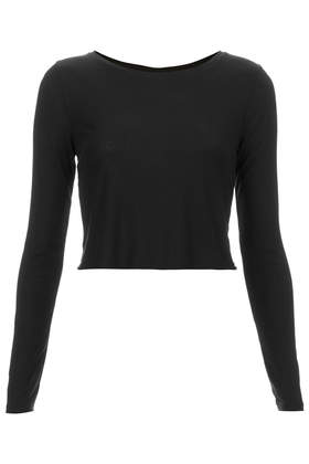 Long Sleeve Skinny Rib Crop Top - Topshop USA