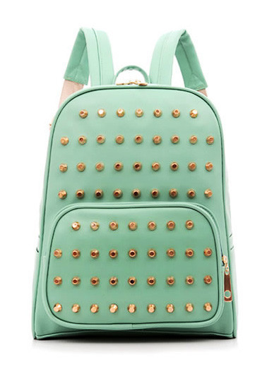 Leather Studs Backpack -Mint