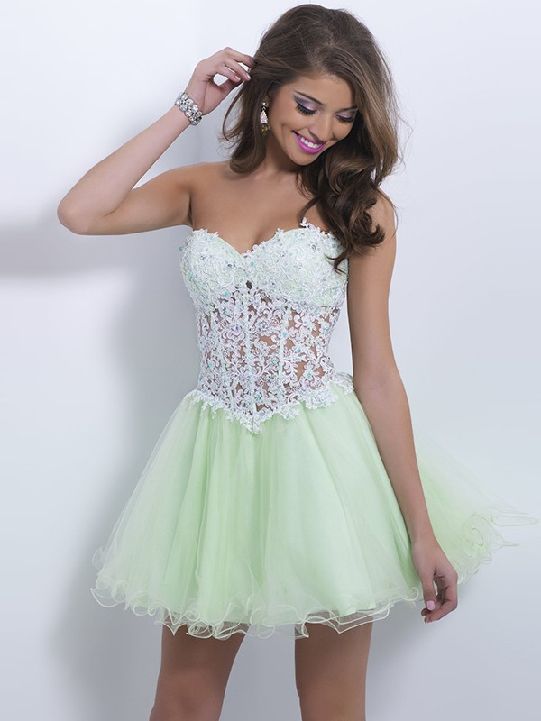 7d15601147b59f A-Line/Princess Sweetheart Sleeveless Tulle Lace Short/Mini Dresses -  Homecoming Dresses 2015 - Homecoming Dresses