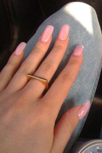 nail polish pink light pink pretty square