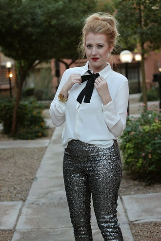 fashion flirtation blogger blouse jewels sparkle sequins pants silver white shirt