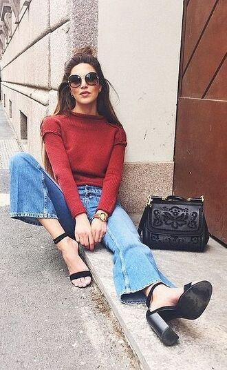 jeans ribbed top negin mirsalehi hun kick flare kick flare jeans blue jeans top red top sweater red sweater sunglasses round sunglasses bag black bag sandals high heel sandals black sandals block heels sandals 70s style cropped bootcut jeans cropped bootcut blue jeans