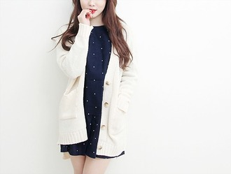cardigan white cute girl fashion kfashion white cardigan korean fashion koreanfashion