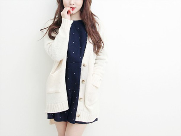 cardigan white cute girl fashion kfashion white cardigan korean fashion korean fashion