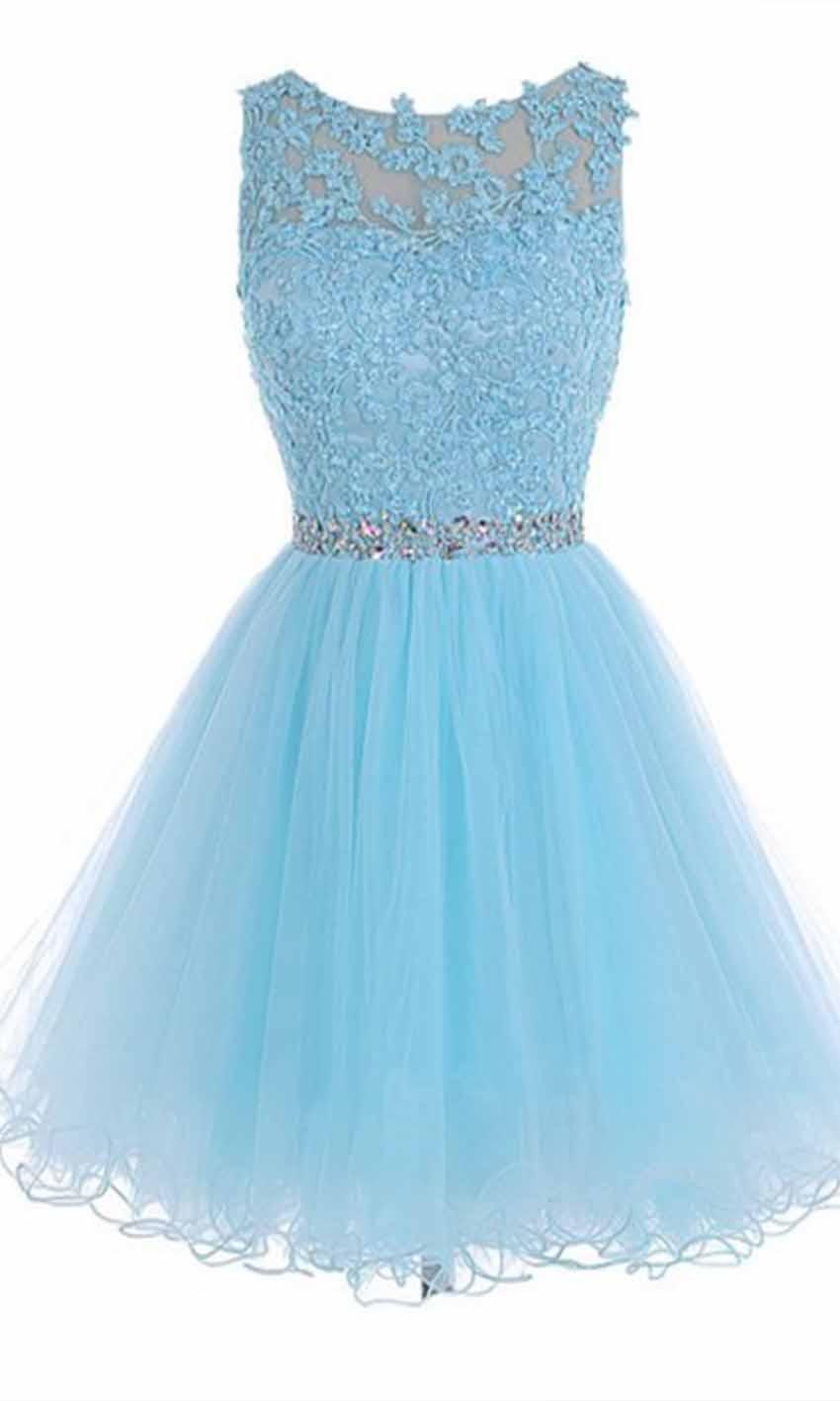 Sky Blue High Illusion Short Lace Prom Dresses KSP455 [KSP455 ...