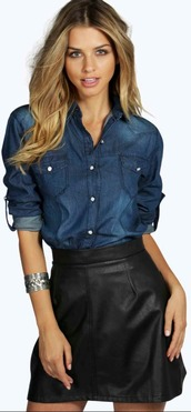 top,denim shirt,faux leather,skirt,black,black skirt,short skirt