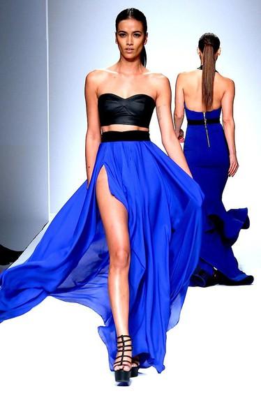 runway blue skirt maxi vivid bright slit skirt flawless chic