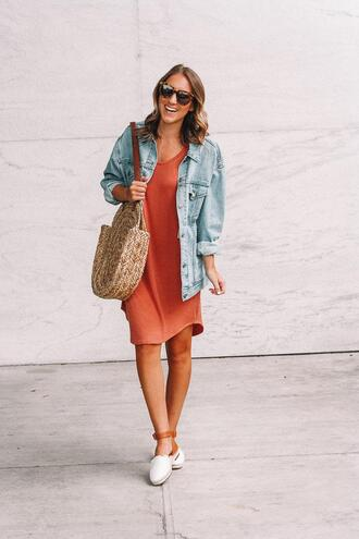 twenties girl style blogger dress jacket sunglasses bag shoes round bag denim jacket spring outfits