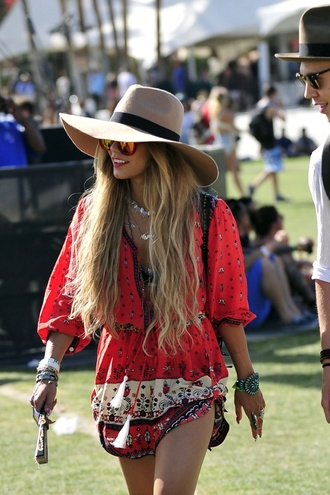 blouse vanessa hudgens romper jewels hat top dress jumpsuit indie hipster coachella floral bohemian dress