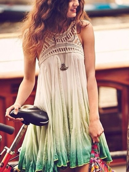 dress boho bohemian hippie hippy gypsy green ombré high neck brunette necklace silver bohemian dress