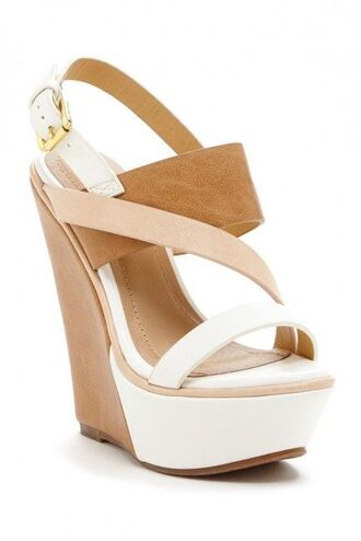 shoes wedges high heels two tone beige shoes beige