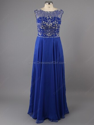 dress a-line scoop neck chiffon floor-length beading prom dress
