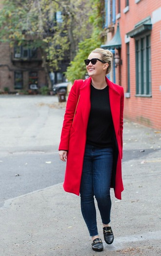 wit&whimsy blogger coat jeans sweater shoes red coat winter outfits loafers