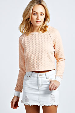 Ruby Cable Quilted Sweat at boohoo.com