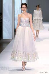 wedding dress,wedding,midi dress,bustier dress,bustier wedding dress,heels,corset,embroidered,prom dress,strapless dress,model,dress