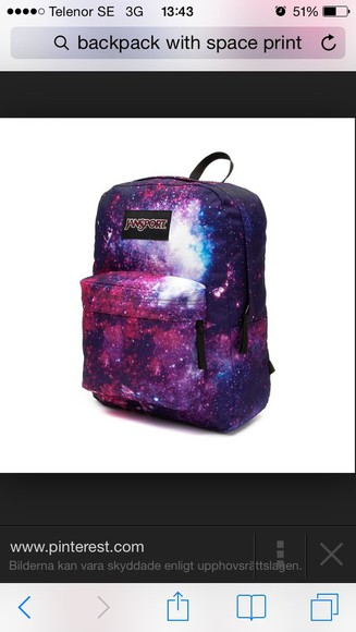 bag backpack red blue space cosmic beautiful bags lovely
