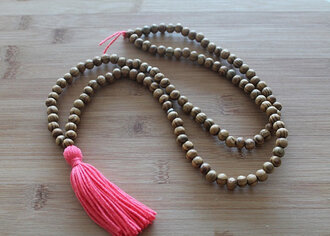 jewels tassel mala wood bead bead tassel necklace coral necklace summer boho meditation necklace