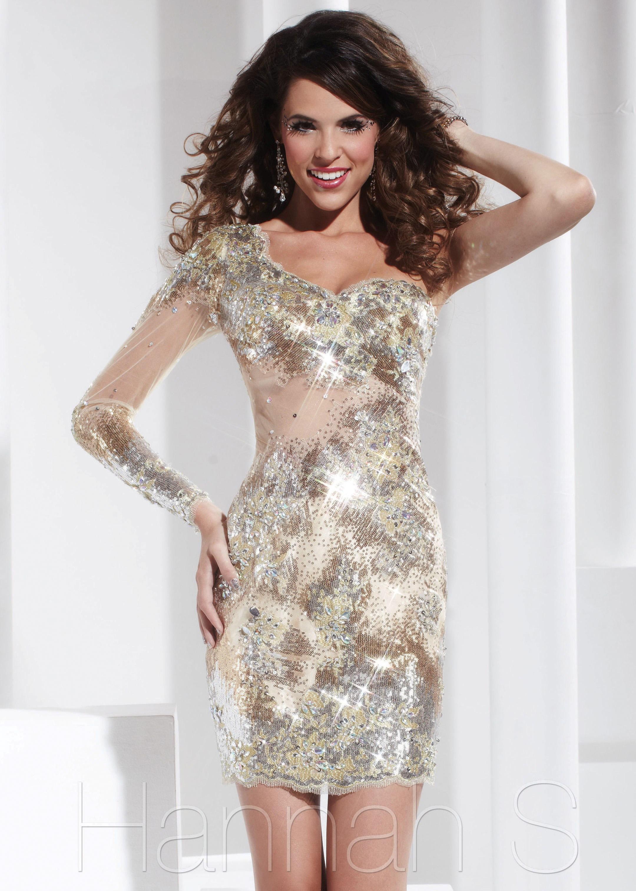 S. 27801 - Gold One Shoulder Long Sleeve Sequin Prom Dresses ...
