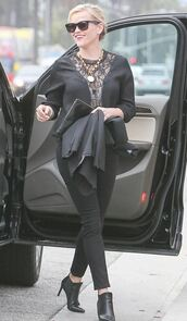 top,lace,blouse,reese witherspoon,all black everything,ankle boots