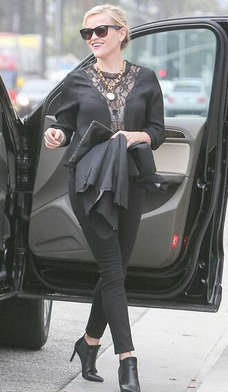 top lace blouse reese witherspoon all black everything ankle boots