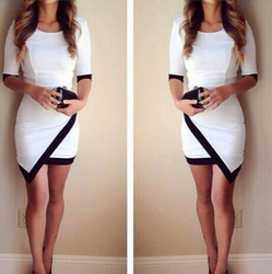 Online shop 2015 women fashion dress sexy black and white irregular dress hip contrast color stitching sleeve dress 12158
