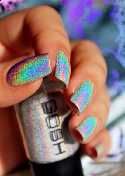 colorful glitter nail polish nails