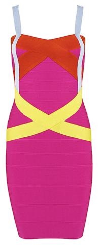 Sexy Karolina Pink Color Block Red Yellow Celebrity Mini Bandage Dress | RawGlitter.com