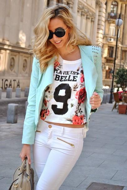 let's talk about fashion ! jacket t-shirt jeans bag sunglasses shoes