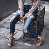 shoes,tumblr,sandals,sandal heels,high heel sandals,nude sandals,denim,jeans,blue jeans,ripped jeans,top,see through top,see through,bell sleeves