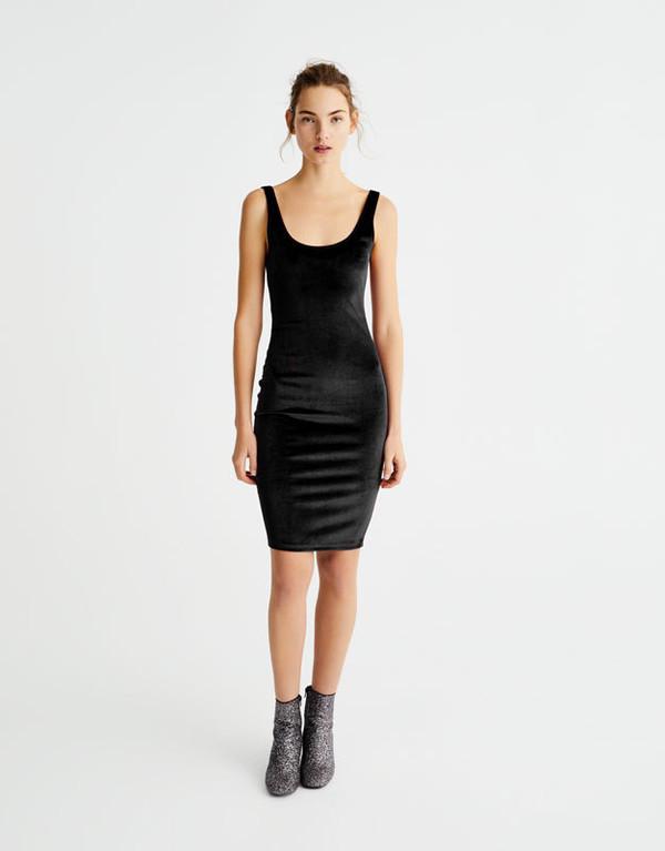 dress pull and bear velvet dress black dress bodycon dress