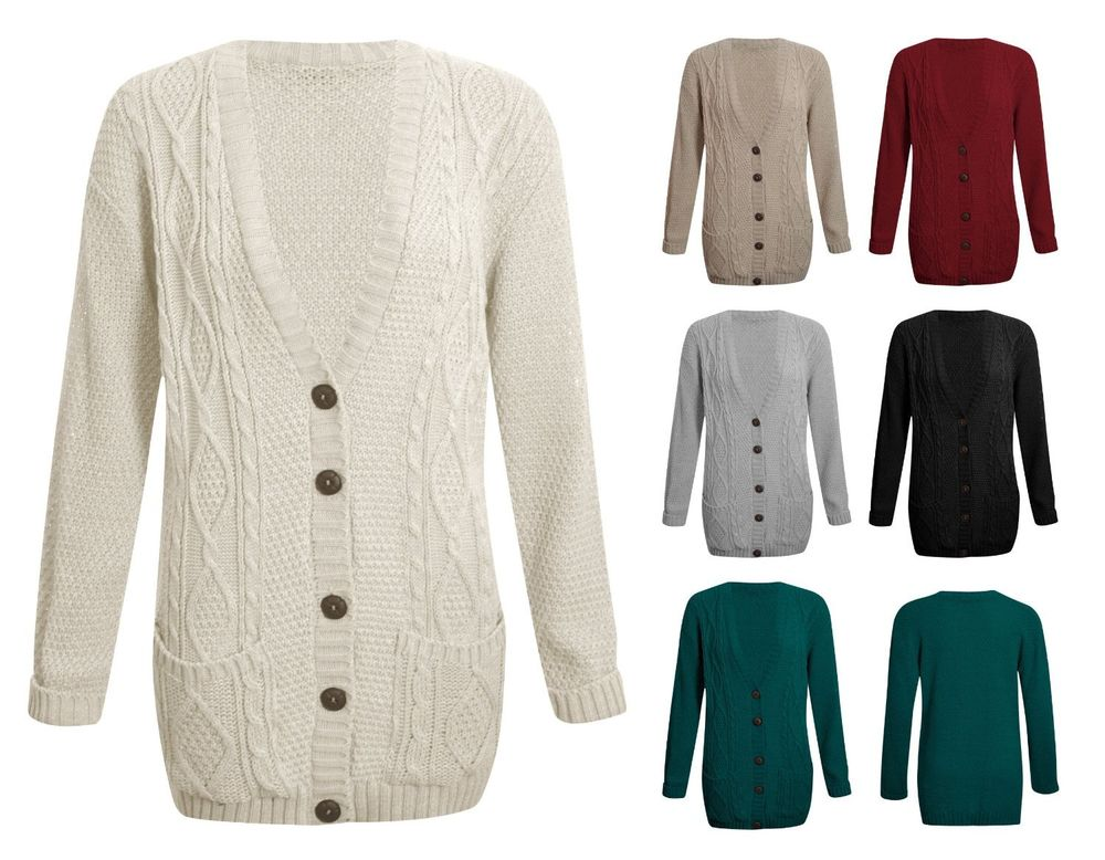Ladies Long Sleeve Button Top Womens Chunky Aran Cable Knit ...