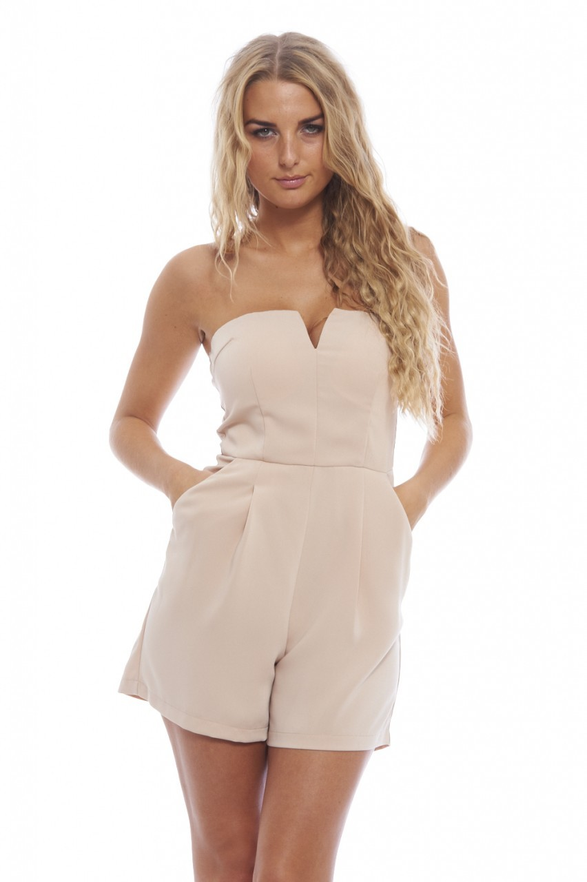 Nude Plunge Front Romper