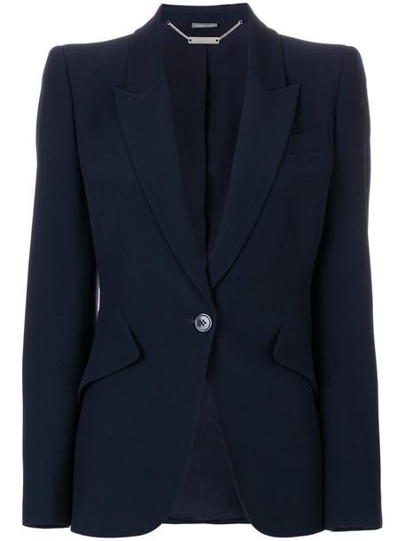 Alexander Mcqueen blazer women blue silk jacket