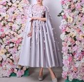 dress,gown,prom dress,lilac,purple dress,midi dress,flowers