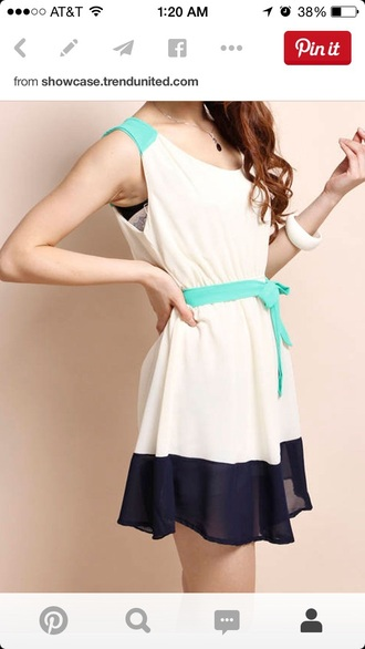 dress colorblock cream navy turquoise bow