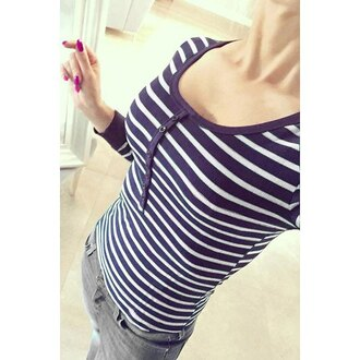 top navy casual cute stripes long sleeves sweet scoop neck long sleeve striped slimming t-shirt for women white cool fall outfits