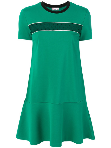 RED VALENTINO dress shirt dress t-shirt dress mini mesh women spandex green