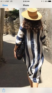 dress,thick blue striped cotton vacation dress