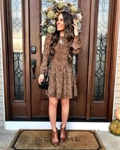 mrscasual,blogger,dress,bag,shoes,jewels,fall outfits,brown dress,shoulder bag,ankle boots