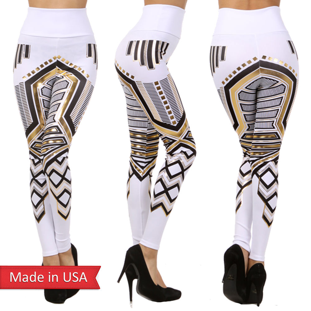 New high waist egyptian cleopatra white gold foil print leggings tight pants usa