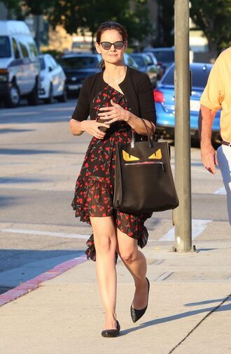dress asymmetrical dress katie holmes flats sunglasses cardigan purse cherry ruffle one shoulder one shoulder dress bag