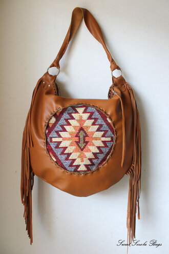 bag leather fringe bag aztec bag leather aztec navajo bag southwestern bag sweetsmokebags