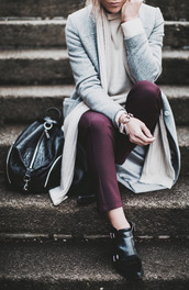 happily grey,blogger,bag,scarf,plum,grey coat,winter outfits,black shoes,coat,sweater,pants,shoes,jewels