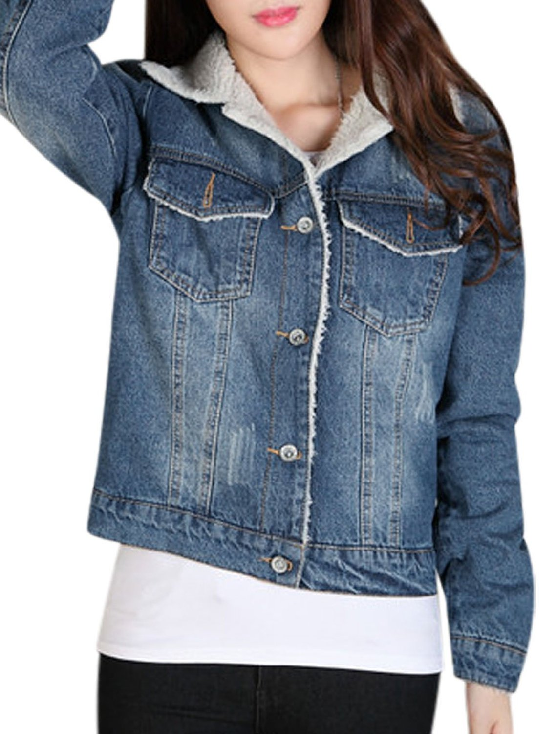 Fleece Lining Single Breasted Casual Denim Jacket Blue XS at ...