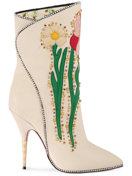 gucci boot women flowers leather white shoes