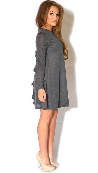 dress charcoal dress grey dress charcoal gray dress multiple bows bow back dress swing dress long sleeves www.ustrendy.com