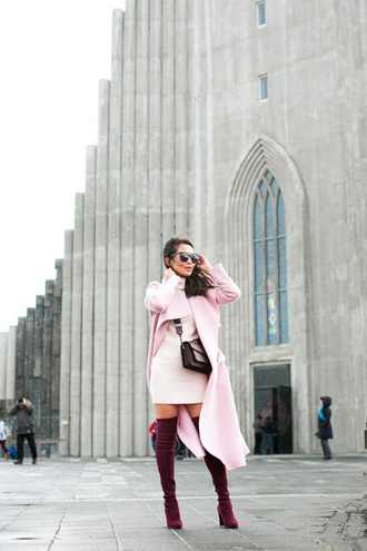 wendy's lookbook blogger top coat sweater dress shoes bag sunglasses scarf pink coat thigh high boots boots winter outfits