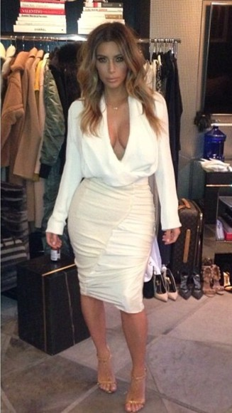 wrap blouse plunge v neck wrap sweater kim kardashian
