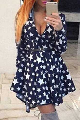 dress stars fashion style cute stylish plunging neck long sleeve full stars print women's dress long sleeves girly rosegal-jan